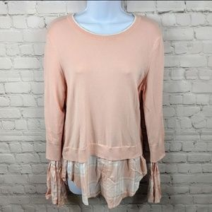 New York & Company Plaid Layered Look Sweater